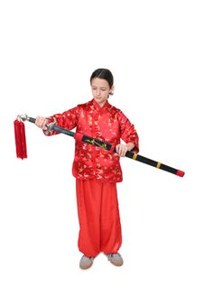 Free Kung Fu Girl With Spear Stock Image - 4117801