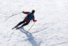 Skier Man Moving Down Stock Images