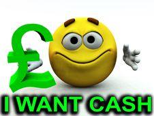 Free Happy Pound Guy I Want Cash Stock Photography - 4118092