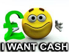Free Happy Pound Guy I Want Cash Royalty Free Stock Photos - 4118108