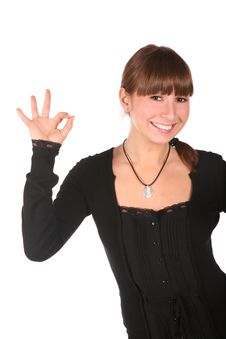 Young Woman Gives Gesture 2 Stock Photo