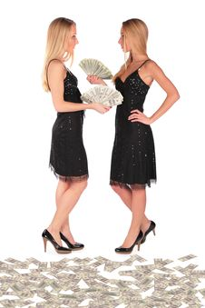 Free Twin Girls Holding Dollars Stock Photography - 4118352