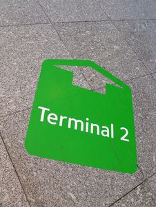 Free Arrow To Terminal In Airport Stock Photography - 4118532