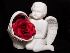 Free Valentine S Gift With Angel Figure And Red Rose Stock Photo - 4118770