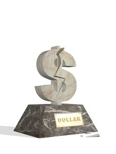 Free 3d Marble Statue Of Dollar With A Crack Stock Images - 4119254