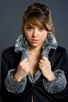 Free Woman In Fur Lined Winter Coat Royalty Free Stock Photos - 4120238