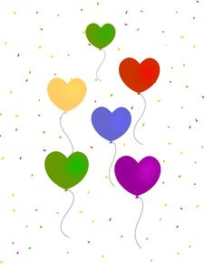 Free Hearts Balloons With Confetti Royalty Free Stock Photography - 4120297