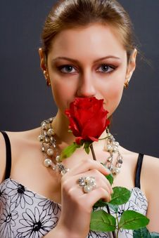 Free Woman With Rose Stock Image - 4120341