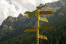 Free Signpost From Metal. A Rose Of Winds. Stock Image - 4120681