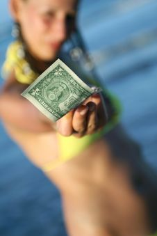 Woman Holding Dollar Stock Photography