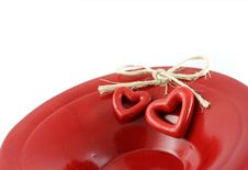 Hearts On Red Plate Royalty Free Stock Images