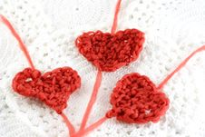 Hearts With Wool Royalty Free Stock Photo