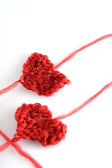 Hearts With Wool Stock Photos