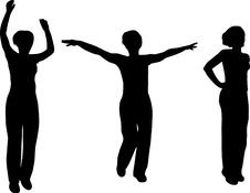 Free Womans Jumping Silhouette Stock Image - 4121551
