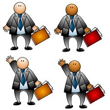 Free Businessman With Briefcase Isolated Royalty Free Stock Photography - 4122957
