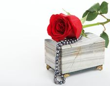 Free Red Rose Lying On Box With Black Pearls Royalty Free Stock Images - 4125249