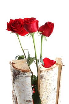 Free Roses In Wooden Sticks Royalty Free Stock Photos - 4125298