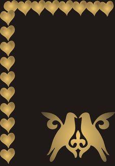 Loving Birds And Hearts Royalty Free Stock Photos