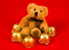 Teddy Bear With Sweetis Royalty Free Stock Images