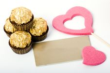Free Candies And Card Heart Shapes Stock Photos - 4127253