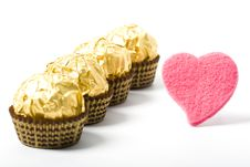 Free Four Candies With Heart Royalty Free Stock Photography - 4127257