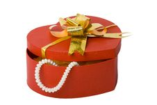 Heart Shape Box With Necklace Royalty Free Stock Photography