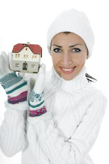 Free Business Woman Advertises Real Estate Royalty Free Stock Photography - 4128267