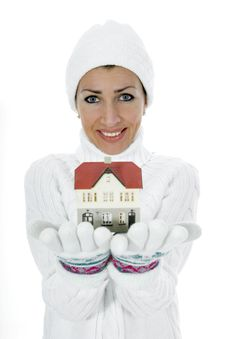 Free Business Woman Advertises Real Estate Royalty Free Stock Photos - 4128308