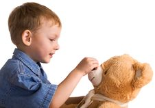 Free Little Boy And Teddy Bear Stock Photography - 4128572