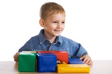 Child Plays With Blocks Royalty Free Stock Image