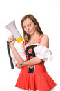 Free Beautiful Young Girl With Megaphone On White Royalty Free Stock Image - 4134516