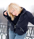 Free Young Blonde Women In Black Jacket Royalty Free Stock Photography - 4135137