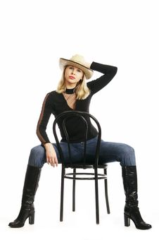 Free Sexy Woman In A Straw Hat Royalty Free Stock Image - 4130286