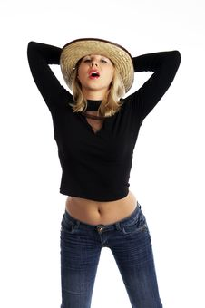 Free Sexy Woman In A Straw Hat Royalty Free Stock Photo - 4130305