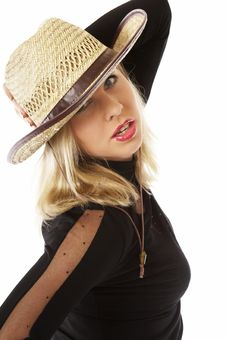 Free Sexy Woman In A Straw Hat Stock Photography - 4130342