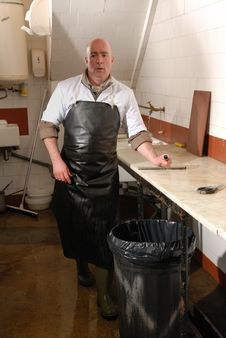 Fishmonger In Apron Stock Photography