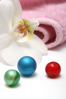 Bath Pearls With Orchid Stock Photo