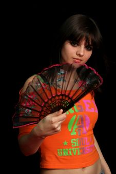 Free Girl With A Spanish Fan Stock Photo - 4130810