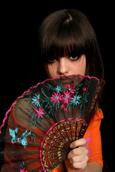 Free Girl With A Spanish Fan Stock Photo - 4130840