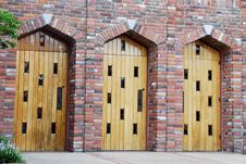 Free Three Wooden Doors Royalty Free Stock Photography - 4131117