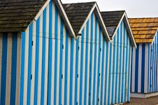 Free Blue Cabanas At The Beach Stock Image - 4131861