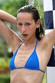 Free Washing Hair Under Shower Royalty Free Stock Photo - 4132115