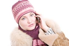 Free Serious Young Woman Dressed For Winter Talks A Mob Stock Photo - 4132130