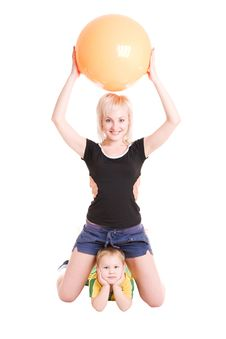 Free Smiling Young Mother And Her Son With A Fitness Ba Stock Images - 4132154