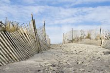 Free Sand Dunes And Fence Stock Images - 4132284