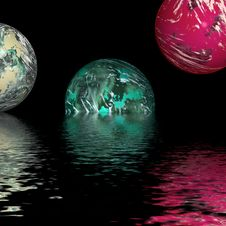 Balls Over Water Royalty Free Stock Image