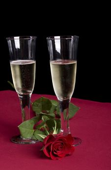 Free Two Glasses Of Rose Stock Photos - 4132593