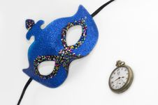Free Blue Carnival Mask And Clock Stock Photos - 4132833