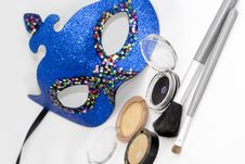 Free Blue Carnival Mask And Eyeshadows Royalty Free Stock Photography - 4132837