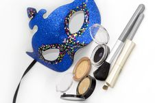 Free Blue Carnival Mask And Eyeshadows Royalty Free Stock Photography - 4132847